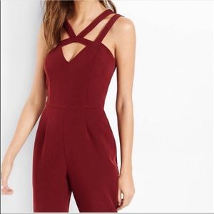 BRAND NEW WITH TAGS Express Maroon Jumpsuit